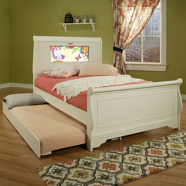 LightHeaded Edgewood White Finish Full Bedframe with Trundle