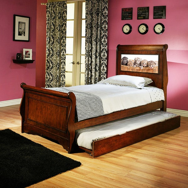 LightHeaded Edgewood Cherry Finish Twin Bedframe with Trundle