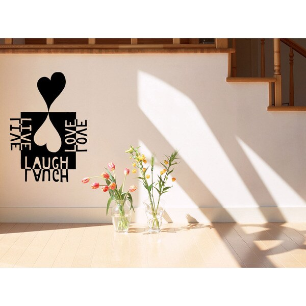 Geometric figure heart Live Laugh Love Wall Art Sticker Decal