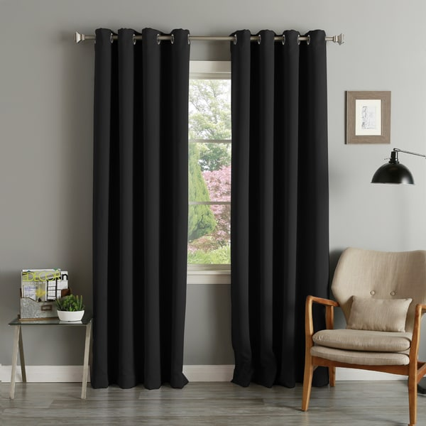 "Aurora Home Silver Grommet 90"" Blackout Curtain Panel (Pair)"