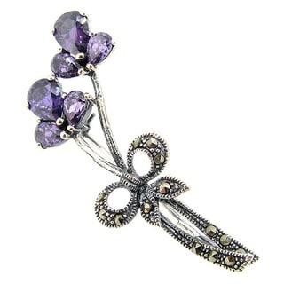 Queenberry Sterling Silver Amethyst Flower Brooch