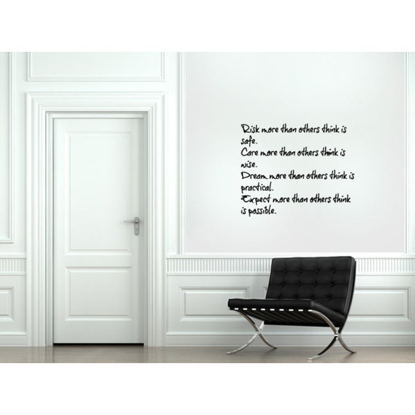 Risk, Care, Dream, Expect More quote Wall Art Sticker Decal