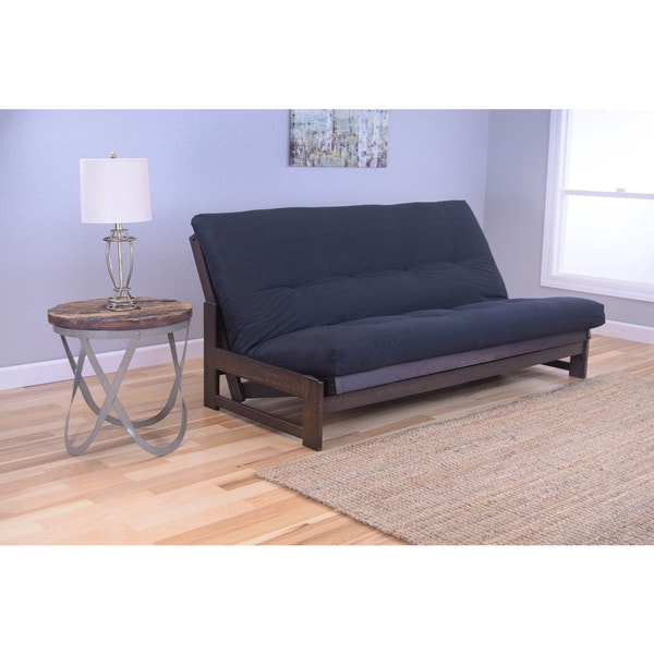 Somette Aspen Reclaimed Mocha Futon Frame with Black Twill Mattress