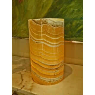 Alabaster Hurricane Pillar Candleholder (Egypt)
