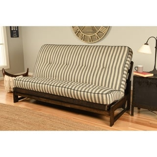 Somette Aspen Mocha Futon Frame with Bright Patterned Futon Mattress