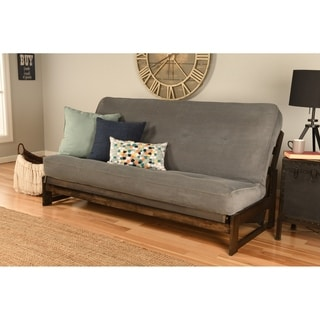 Somette Aspen Mocha Futon Frame and Brown Leather-like Fabric Futon Mattress