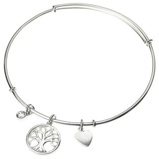 Queenberry Sterling Silver Family Tree Charm Adjustable Bangle Bracelet