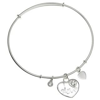 Queenberry Sterling Silver Heart Adjustable Bangle Bracelet