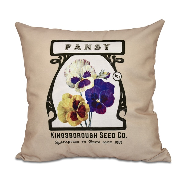 Pansy Floral Print 16-inch Throw Pillow