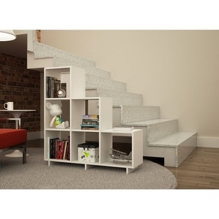 Manhattan Comfort Sophisticated Cascavel Stair Cubby with 6 Cube Shelves