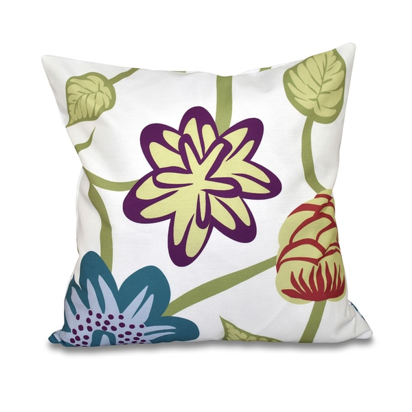 Tropical Floral Print 18-inch Throw Pillow