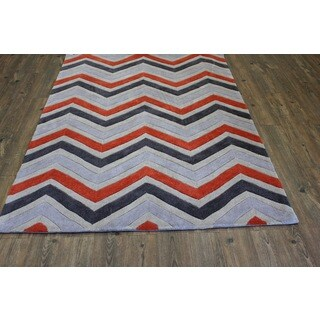 Orange Grey Charcoal Beige Color Area Rug (5' x 7')
