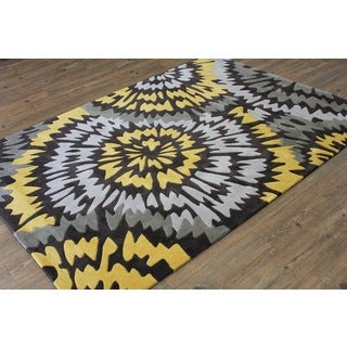 Yellow Silver Grey Charcoal Color Area Rug (5' x 7')