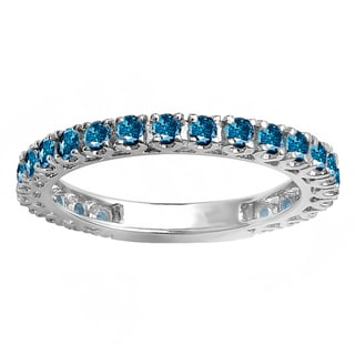 14k White Gold 1ct TDW Round Blue Diamond Eternity Ring (Blue, I1-I2)