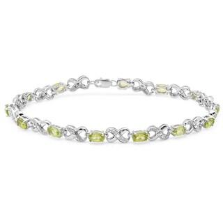 Sterling Silver 3 1/5ct TGW Peridot and Diamond Infinity Link Tennis Bracelet (I-J, I2-I3)