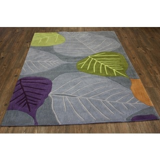 Green Silver Blue Lavender Rust Area Rugs (5' x 7')
