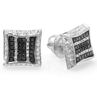 Sterling Silver 1/10ct TDW White and Black Round Diamond Micro Pave Set Kite Earrings (I-J, I2-I3)