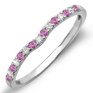 14k White Gold 1/4ct TDW Round Pink Sapphire and White Diamond Anniversary Wedding Ring (I-J, I2-I3)