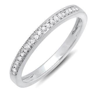 10k Gold 1/6ct TDW Diamond Wedding Anniversary Milgrain Stackable Band Ring (I-J, I2-I3)