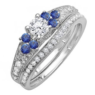 14k White Gold 1ct TDW Round Blue Sapphire and White Diamond Bridal Set (H-I, I1-I2)