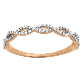14k Gold 1/5ct TDW Diamond Swirl Anniversary Stackable Ring (I-J, I2-I3)