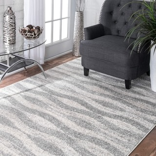 nuLOOM Contermporary Geometric Waves Grey Rug (2' x 3')