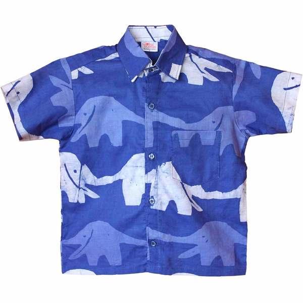 Global Mamas Hand Batiked Boys Button Down Shirt - Blueberry Elephants - (Ghana)