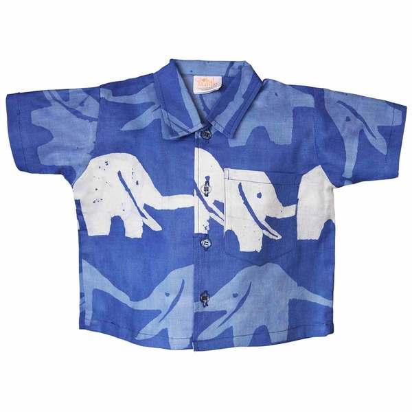 Global Mamas Hand Batiked Baby Button Down Shirt - Blueberry Elephants (Ghana)