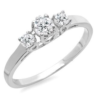 14k White Gold 2/5ct TDW Round-cut Diamond Bridal Engagement 3-stone Ring (H-I, I1-I2)