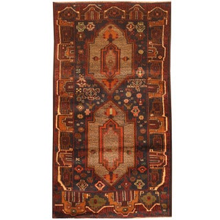 Herat Oriental Afghan Hand-knotted 1980s Semi-antique Tribal Balouchi Navy/ Tan Wool Rug (2'6 x 4'6)