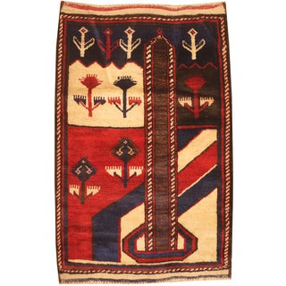 Herat Oriental Afghan Hand-knotted 1980s Semi-antique Tribal Balouchi Red/ Blue Wool Rug (2'7 x 4')
