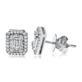 18K White Gold 3/4ct TDW Round and Baguette-cut Diamond Halo Stud Earrings (F-H, SI1-SI2)
