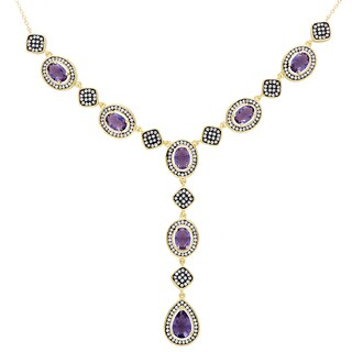 Samantha Stone Gold Over Sterling Silver Simulated Amethyst and Cubic Zirconia 'Y' Necklace