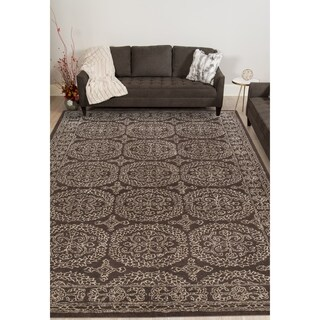 Hand-tufted Saint Thomas Charcoal Blended New Zealand Wool and Art Silk Rug (7'6 x 9'6)