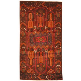 Herat Oriental Afghan Hand-knotted 1960s Semi-antique Tribal Balouchi Black/ Orange Wool Rug (2'8 x 5')