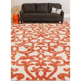 Hand-tufted Constantine White Orange New Zealand Wool Rug (7'6 x 9'6)