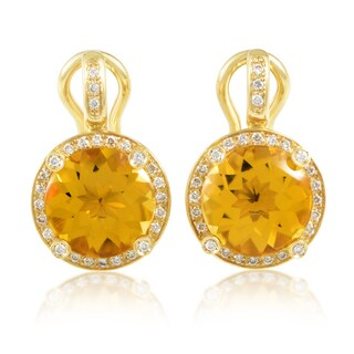 Poiray 'Girls' 18k Yellow Gold Diamond and Citrine Earrings