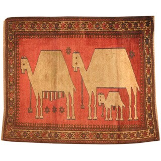 Herat Oriental Afghan Hand-knotted 1960s Semi-antique Tribal Balouchi Red/ Beige Wool Rug (3'3 x 3'9)