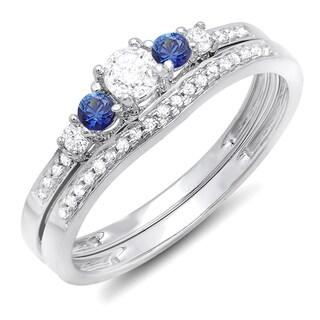 14k White Gold 1/2ct TDW Round Blue Sapphire and White Diamond 5-stone Bridal Set (H-I, I1-I2)