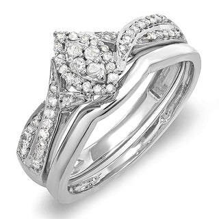 10k White Gold 1/3ct TDW Round Diamond Bridal Split Shank Marquise Engagement Ring (H-I, I1-I2)