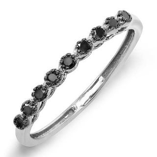 10k White Gold 1/5ct TDW Round Black Diamond Wedding Anniversary Stackable Matching Band