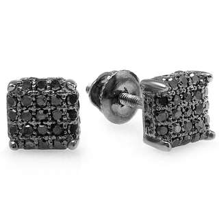 Black over Silver Men's 1/3ct TDW Black Diamond Ice Cube Dice Iced Stud Earrings