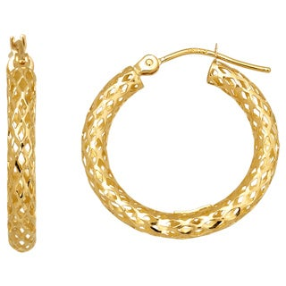 14k Yellow Gold Round Pierced Hoop Earring