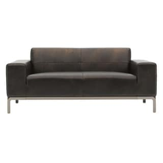 Alleno Brown Leather Two-seat Sofa (Loveseat)