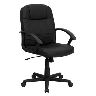 Prier Black Leather Executive Adjustable Swivel Office Chair
