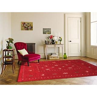 Hand-woven San Ramon Red New Zealand Wool Rug (9' x 12')