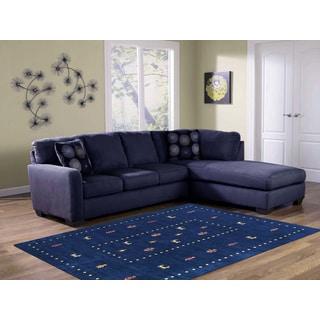 Hand-woven San Ramon Navy Blue New Zealand Wool Area Rug (9' x 12')