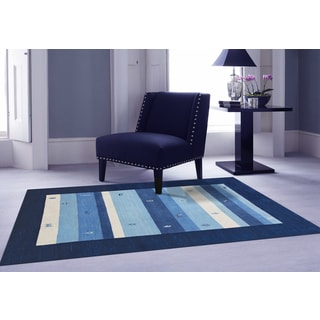 Hand-woven San Ramon Navy Blue New Zealand Wool Rug (9' x 12')