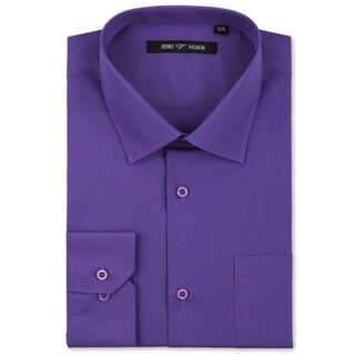 Verno Luxton Men's Lilac Classic Fashion Fit Dress Shirt
