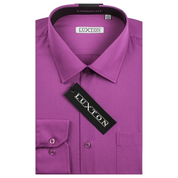 Luxton Men's Grape Classic Fashion Fit Dress Shirt